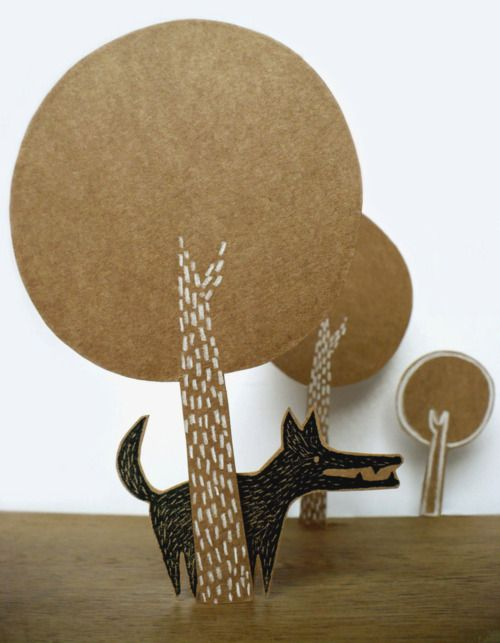 "DIY Kraft paper puppet show ""Peter and the wolf"". Cute idea for nursery"
