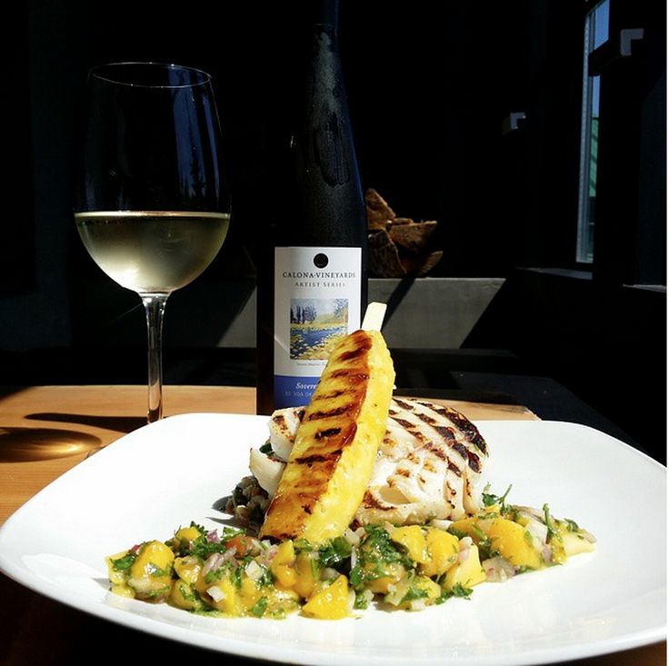 Grilled cod, teriyaki pineapple skewer wild rice and mango salsa. Coupled with a glass of our fruity Sovereign Opal.  1609 Restaurant & Lounge | Food Photos