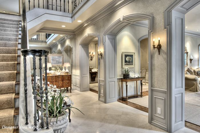 gorgeous home - mirrored wall at the end of the hall?Decor Ideas, Cozy House, Trav'Lin Lights, Future House, Foyers Entry Stairs, Decadent Decor, Amazing Foyers, Arches Moldings, Dreams Interiors