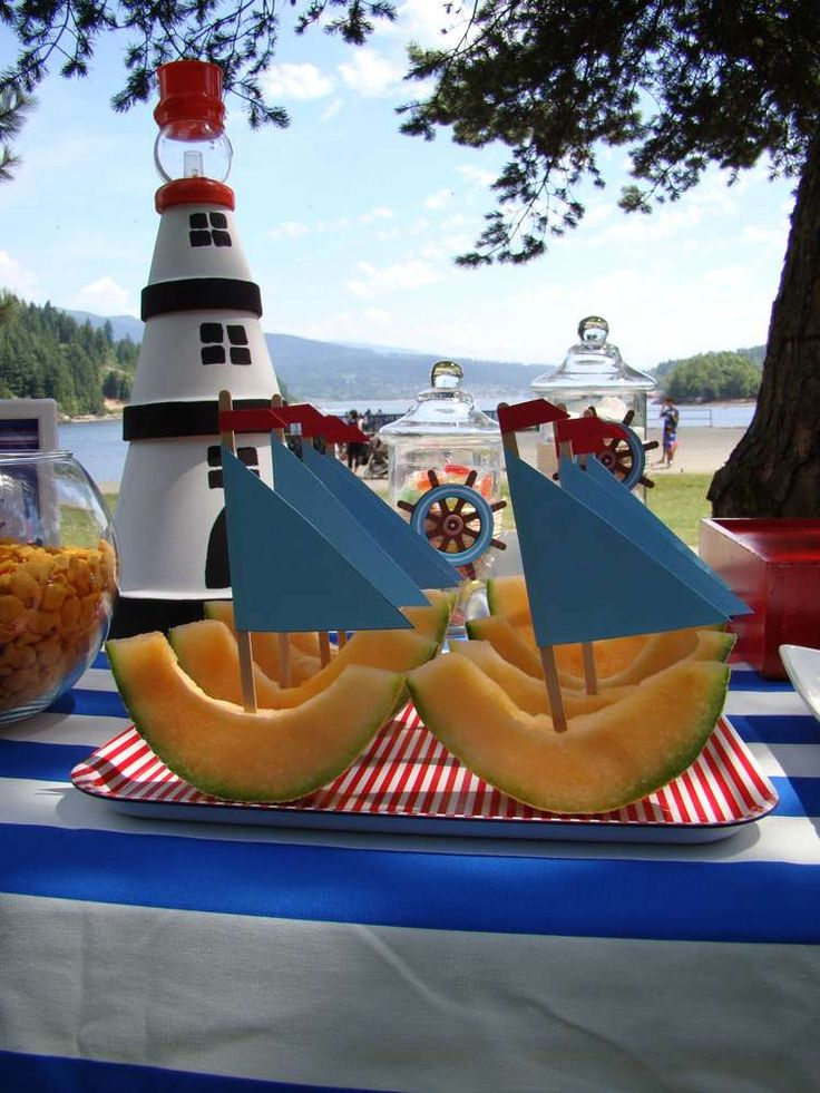#Nautical Themed Party for your Little One! Loving these cantaloupe #sailboats! // CatchMyParty.com- #BirthdayParty