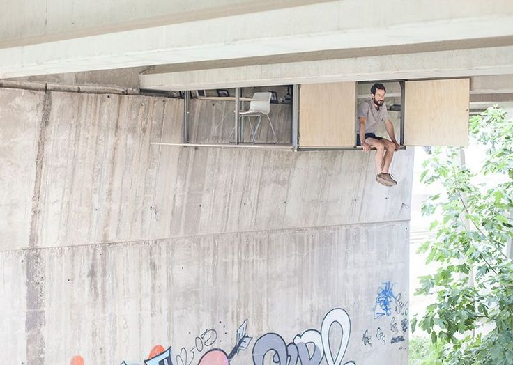 Designer Fernando Abellanas has installed a secret studio beneath the overpass of a busy traffic bridge in Spain. The micro-dwelling shuns notions of the idyllic country cabin surrounded by nature, and instead embraces its urban setting through a raw and industrial aesthetic.