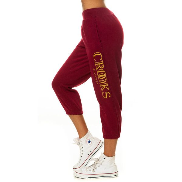 Crooks and Castles The Ballin' Mane Sweatpants in Burgundy ($64) ❤ liked on Polyvore featuring activewear, activewear pants, pants, bottoms, sweatpants, sweats, crooks & castles, tall sweatpants, red jogger sweatpants and jogger sweatpants