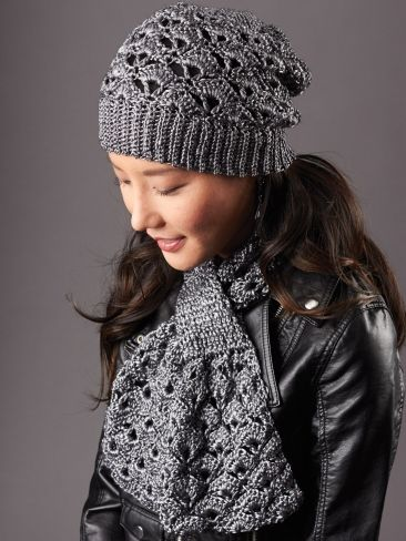 Crochet Silver Screen Hat & Scarf free pattern.