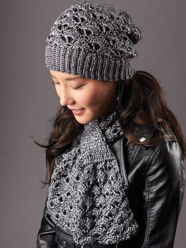 Crochet Silver Screen Hat & Scarf free pattern.