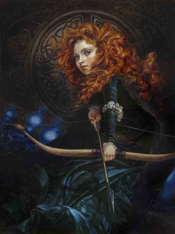 """""""Her Father's Daughter"""" - Merida, Brave   6 Gorgeous Disney Ladies As If They Were Oil Portraits"""