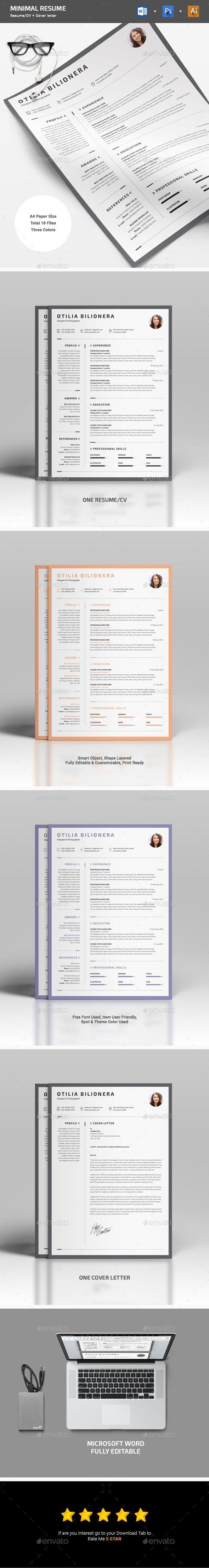 Minimal #Resume - Resumes #Stationery Download here: https://graphicriver.net/item/minimal-resume/19505101?ref=alena994