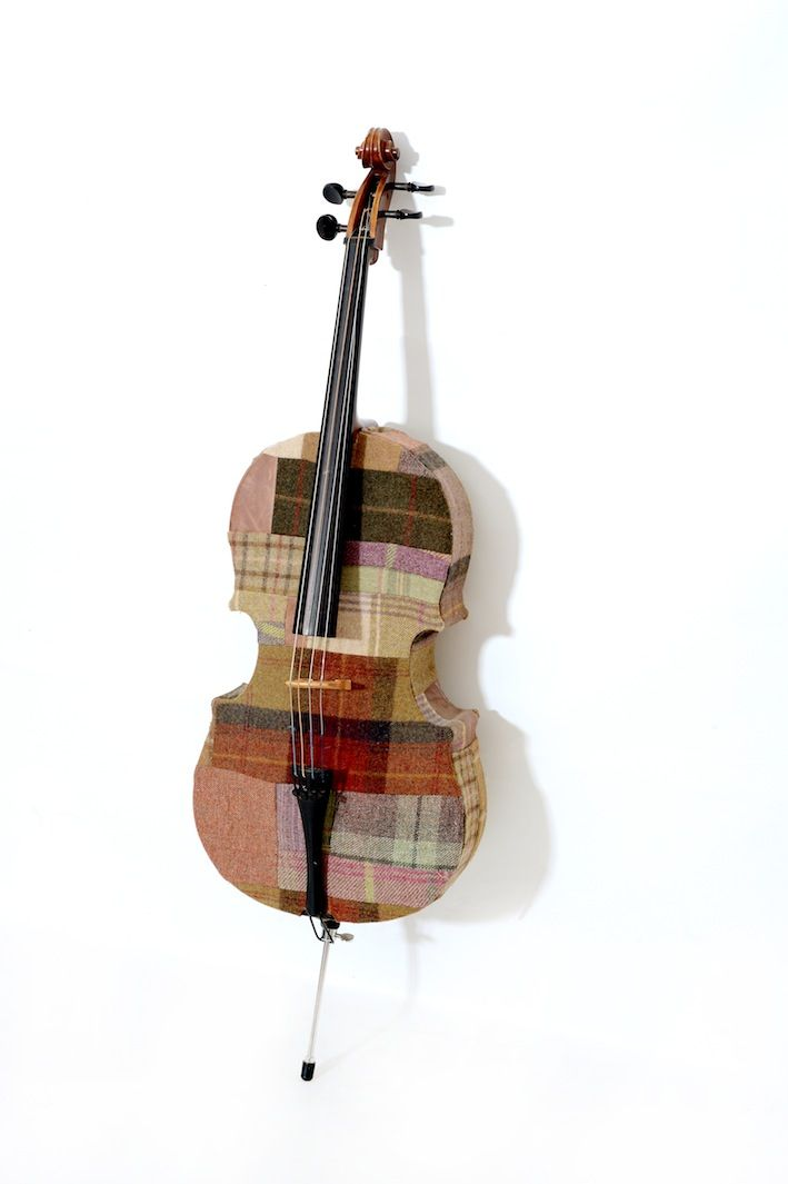 Our unique Patchwork Cello - we can do any instrument. These unfortunately cannot be played.