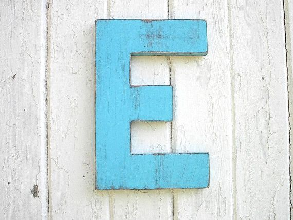 Shabby chic wooden letter E, by Letters of Wood on Etsy