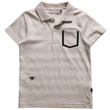 Dior Boys Beige Cotton Polo Shirt with Bee Logo - $109.63