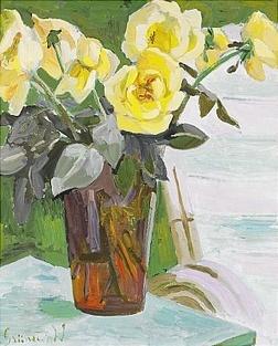 Isaac Grünewald (1889-1946):  Stilleben med gula rosor