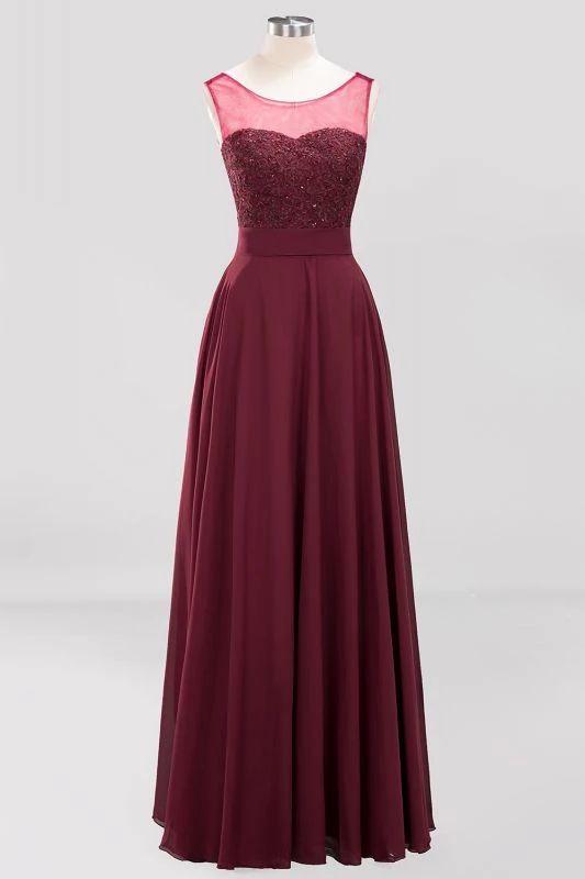 Chicloth| A-Line Chiffon Tulle Lace Beadings Jewel Sleeveless Floor-Length Bride…