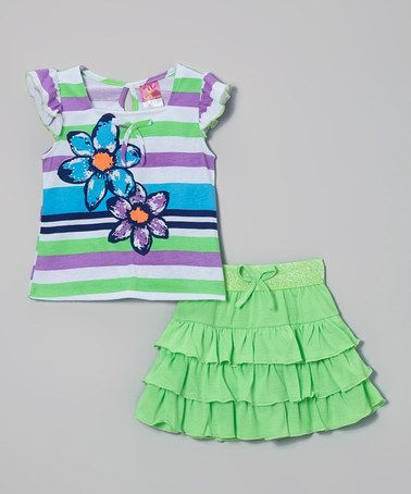Another great find on #zulily! Lime Rhinestone Stripe Top & Skirt - Infant, Toddler & Girls #zulilyfinds