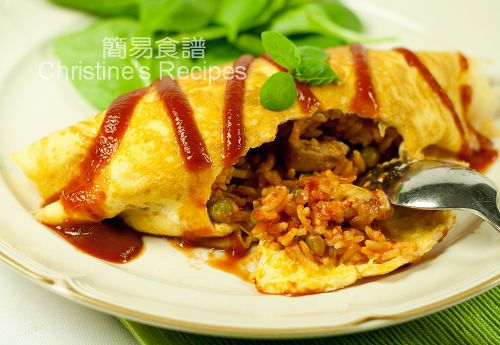 Omurice, is a contemporary Japanese dish. I guess it's invented not long ago, yet it quickly becomes a very popular dish around the world. It's a kind of fried rice, commonly cooked with chicken, tomato sauce and ketchup, wrapped in omelette (a thin sheet of fried egg)    Read more: http://en.christinesrecipes.com/search/label/Japanese%20Recipes#ixzz1vhfanF9x