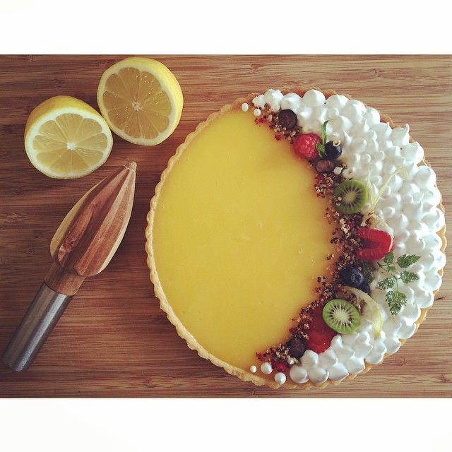 Lemon meringue pie  || Soft meringue peaks, kiwi berries, raspberries, blueberries,  candied herbs…