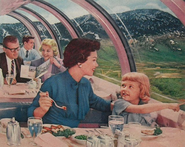 1950s Train Dining Car Interior Modern Midcentury Windows Vintage Advertisement Travel by Christian Montone, via Flickr