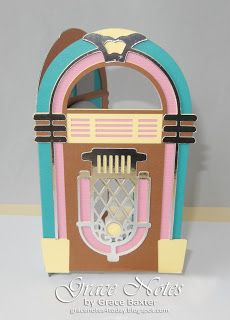 Jukebox Retro B-day Card. Visit the blog for more details and pics. #GracenotesForToday, #CricutDesignSpace