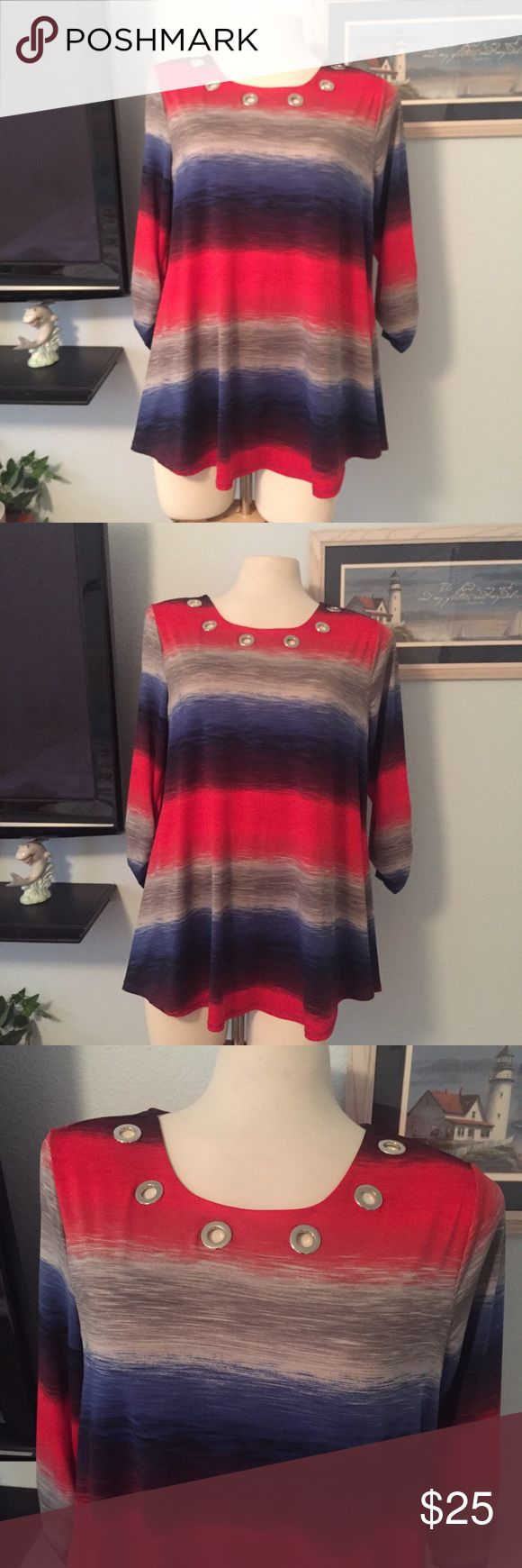 """NWT New Direction Comfy Top Size Large NWT Ladies New Direction """"Denim-Red Knit"""" Comfy Top in a Size Large. 95% Polyester & 5% Spandex. Laying flat, not stretch 22"""".  Top of the shoulder to hem is 29"""".  Colors are red, denim blue and gray. Would Look great with jeans or dress slacks.?Tag price $45 new directions Tops Tunics"""