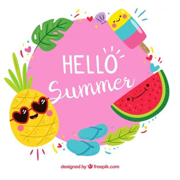 Background Of Hello Summer With Funny Fruits Free Vector Hello Summer Download Background Of Hello Summer With Funny F In 2020 Hello Summer Funny Fruit Summer Sticker