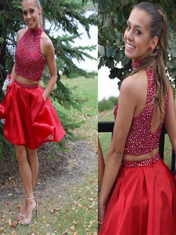 Kurze benutzerdefinierte Heimkehr Kleid, rote Heimkehr Kleid, zwei Stücke Heimkehr Kleid, Perlen Heimkehr Kleid, prickelnde Kleid, Cocktailkleid. PD210196 von BellaBridal