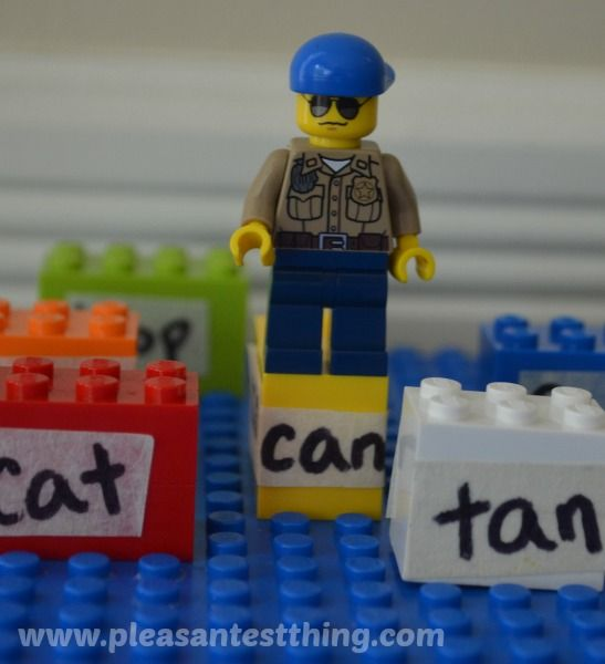 Reading game with LEGO minifigures: rhyming word hop.