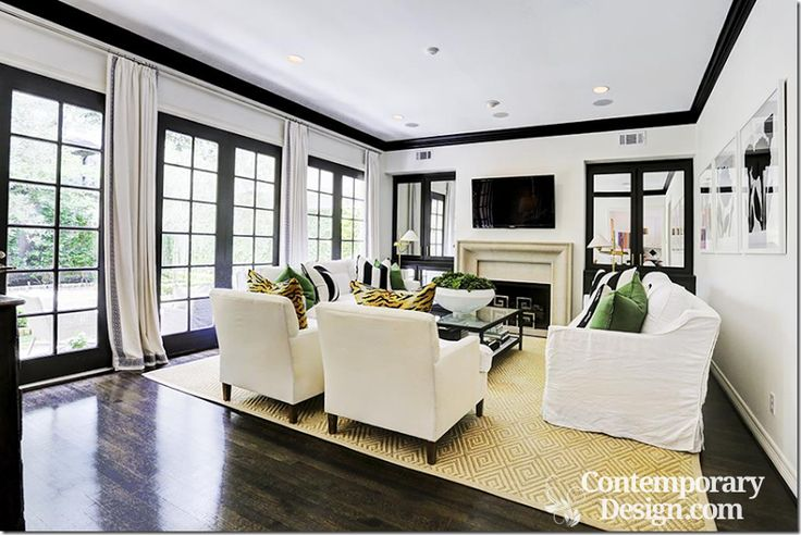 White Walls Black Trim In 2019 Black White Living Room Black Baseboards White Baseboards