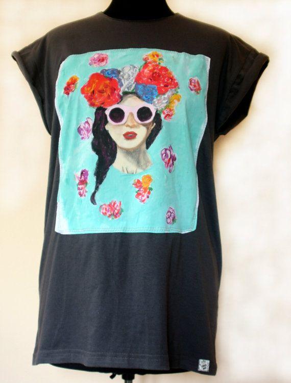 FREE SHIPPING Handmade Handpainted Flowers   T-shirt Streetstyle