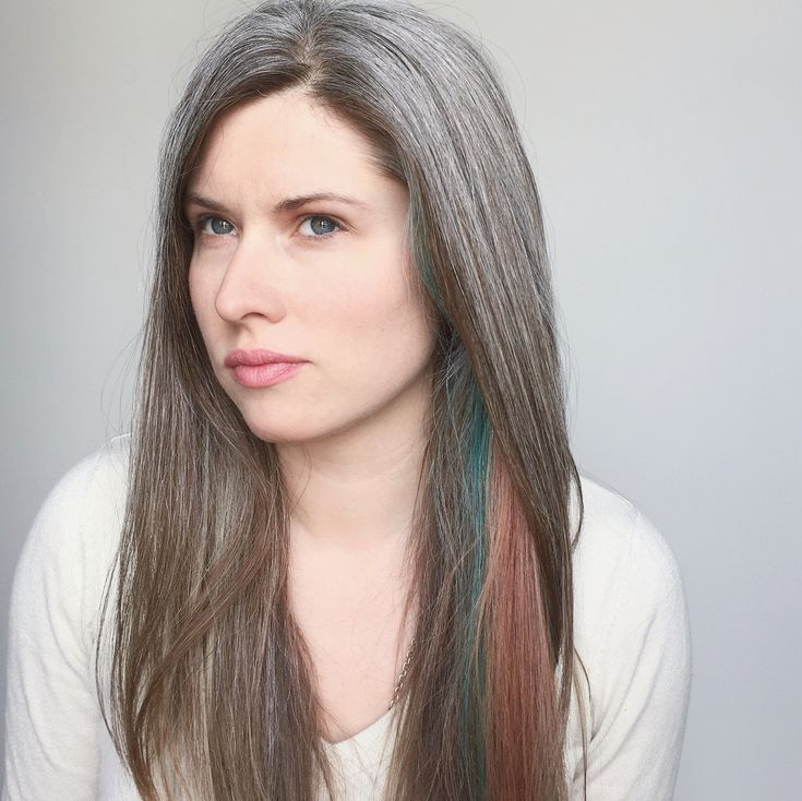 Natural grey hair + blue + rose gold | pures silber