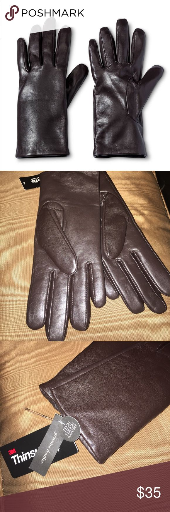 Leather work gloves screwfix - Nwt Leather Woman S Black Gloves In Dark Brown Boutique