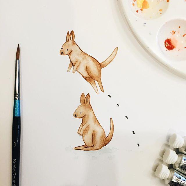 Kangaroo friends playing leap frog (leap kangaroo?)  - - #illustration…