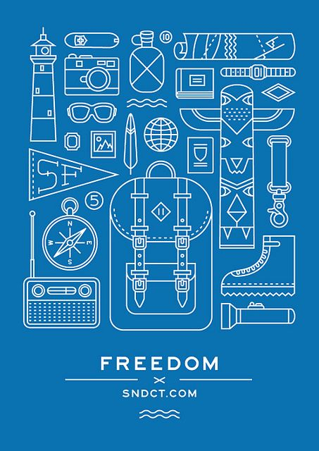 One of a series of posters for Syndicate. Freedom—Travelling experience © Orka Collective