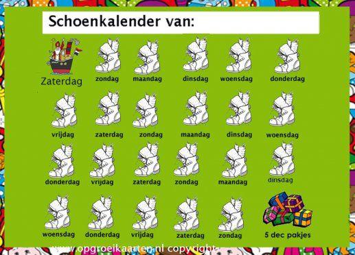 Schoenkalender Sinterklaas 2016
