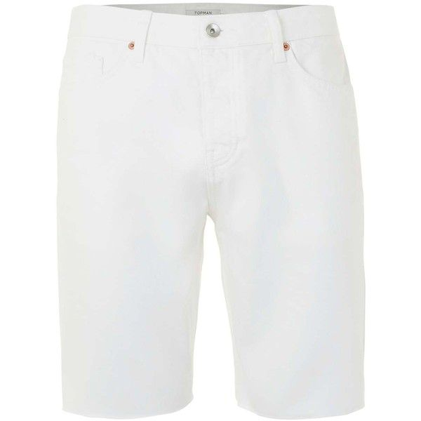 TOPMAN White Raw Edge Slim Denim Shorts ($42) ❤ liked on Polyvore featuring men's fashion, men's clothing, men's shorts, cream, mens white shorts, mens jean shorts, mens slim fit shorts, slim fit mens clothing and mens white cotton shorts