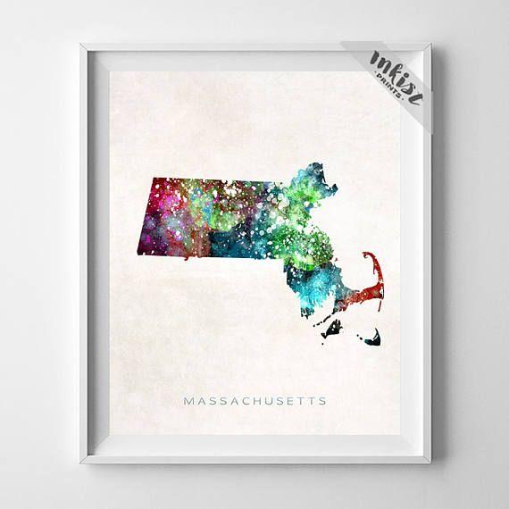 Massachusetts Map Print, Boston Print, MA Poster, Boston Map, State Art, Giclee Art, Map Print, Traveler, Dorm Decor, Christmas Gift, Wall Art. PRICES FROM $9.95. CLICK PHOTO FOR DETAILS.#inkistprints #map #watercolor #watercolour #giftforher #homedecor #nursery #wallart #walldecor #poster #print #christmas #christmasgift #weddinggift #nurserydecor #mothersdaygift #fathersdaygift #babygift #valentinesdaygift #dorm #decor #livingroom #bedroom