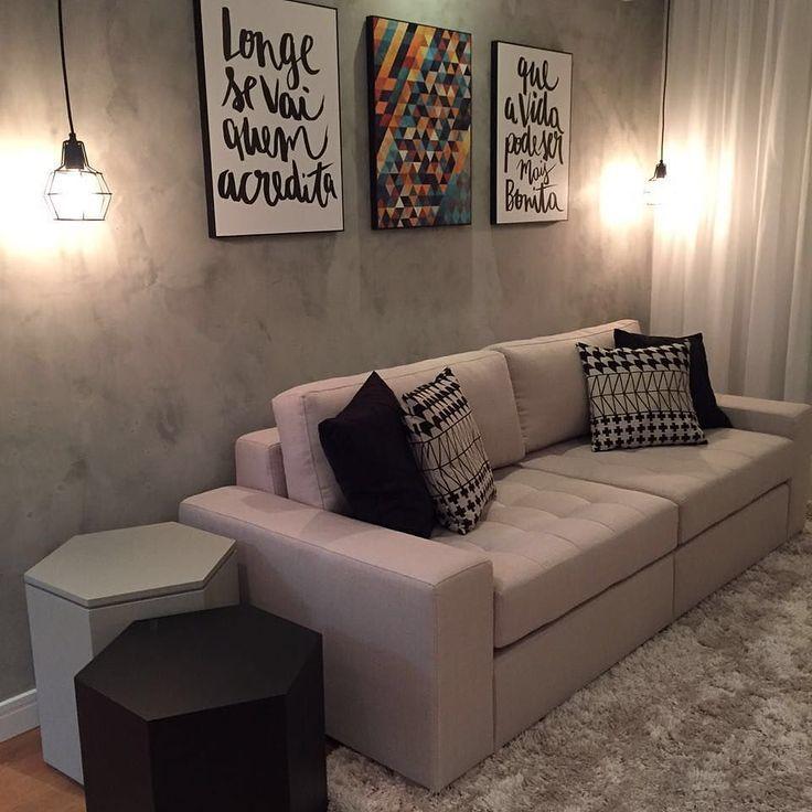 Decoração sala - Que charme ficou esse cantinho que a Jeh Adan {@decorchic} preparou para sua cliente - e detalhe: o efeito do cimento queimado na parede foi criado com tinta! Moderno e despojado!