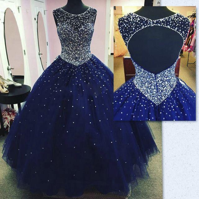 Lujo azul roya largo vestido de Quinceañera 2016 butante crysatl con cuentas vestido de bola de tulle vestido vestido 15 anos