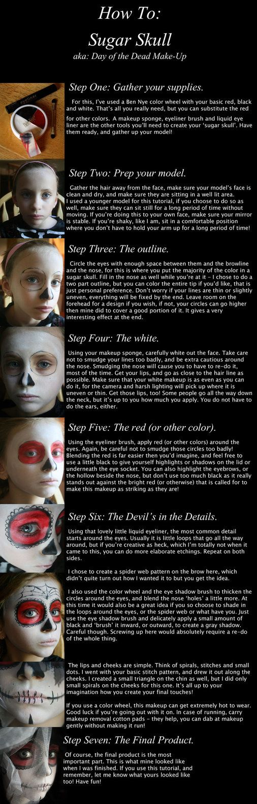 Available for download. How to make a basic, simple day of the dead face paint. Wasn't sure what category to place this in, but since the outcome was photographic in nature, I put it there. Correct...