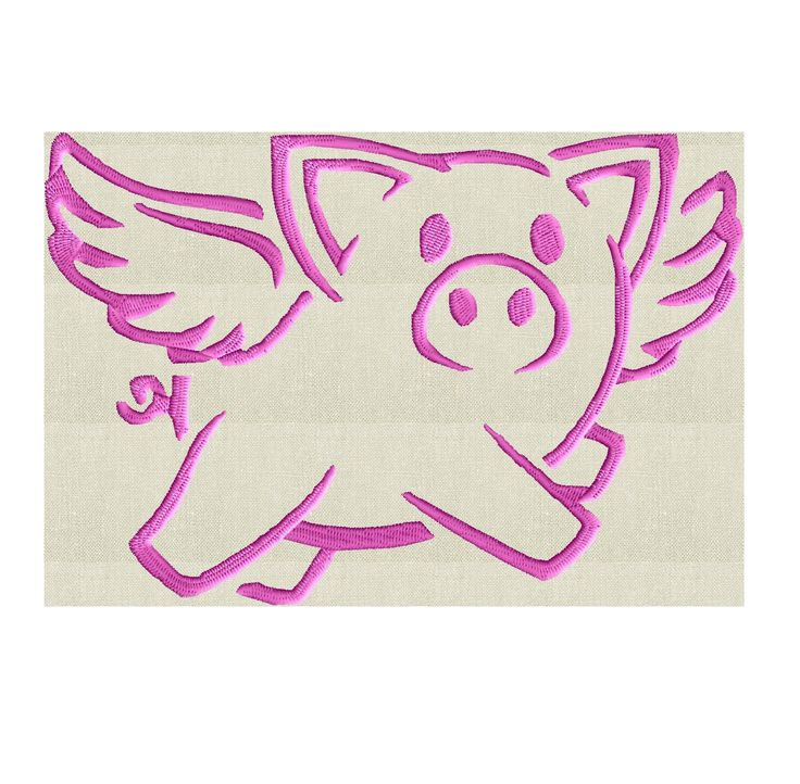 Flying Pig - when pigs fly swine - Embroidery Design Embroidery DESIGN FILE  - Instant download 2 sizes - Hus Dst Jef Pes Exp Vp3 formats by StitchElf on Etsy https://www.etsy.com/listing/525669253/flying-pig-when-pigs-fly-swine