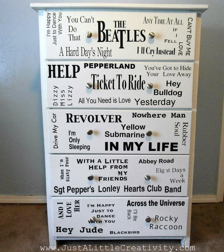 I love it, yeah, yeah, yeah! The Beatles Dresser Makeover {DIY} Mod Podge Vinyl Letters - maybe not The Beattles, but would work with other themes too.