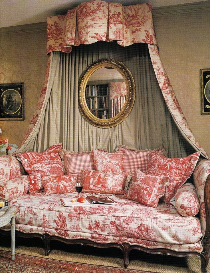 Fabulously French, inviting space in which to sit and read for hours, and perchance to nap.