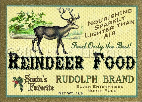 Vintage Christmas Label Digital Download Collage Sheet Printable Reindeer Food