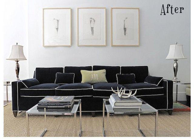 pipping please!Decor, White Pipe, Living Room, House, Billy Baldwin, Furniture, Black, Design, Sofas