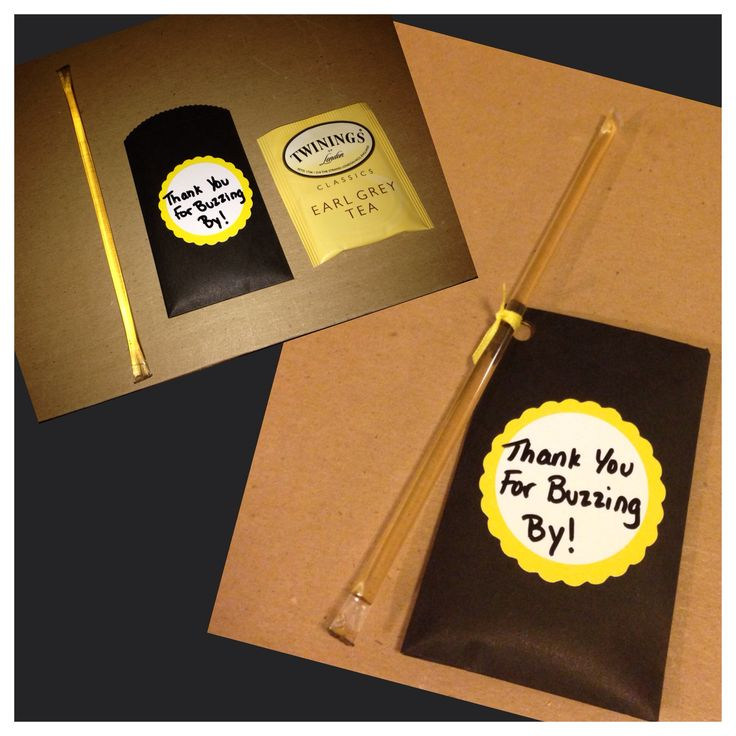 Bumble Bee Baby Shower Gift For The Guests DIY Honey Stir Straw And A Tea