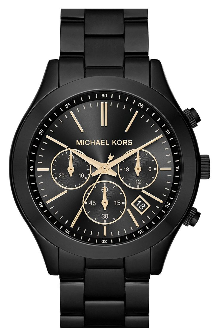 This black and gold Michael Kors watch would make great arm candy. @nordstrom #nordstrom