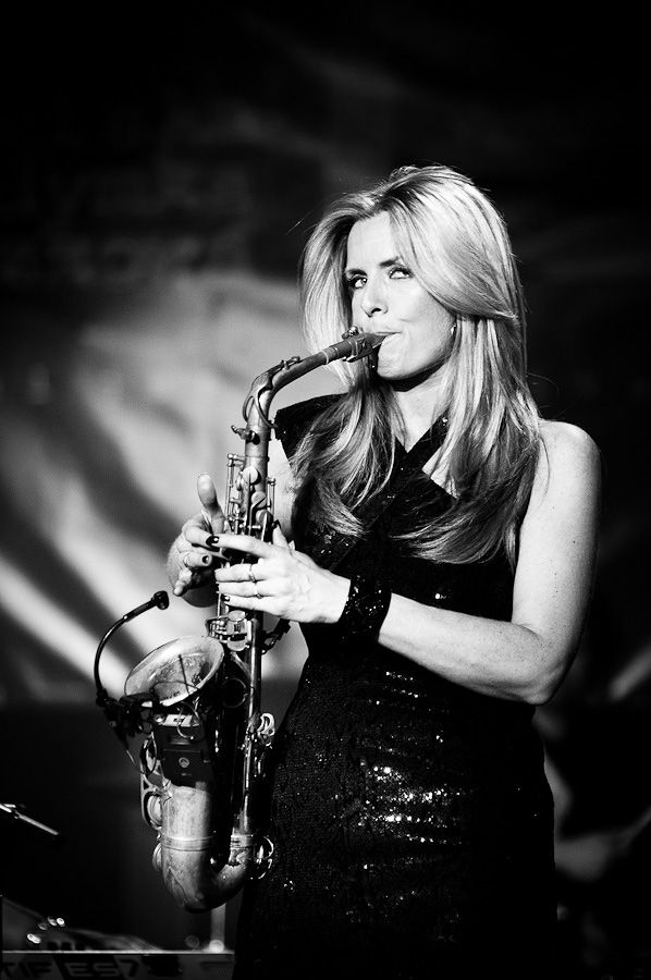 Dutch smooth jazz alto saxophonist Candy Dulfer. She began playing drums at age five, and sax at age six www.candydulfer.nl Jazz ART Fashion Festival Wadowice 2014