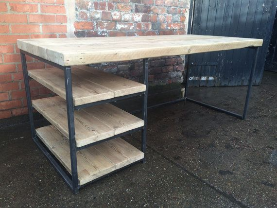 Reclaimed Industrial Chic Wood & Metal Desk/ Dining Table with Storage Shelving Bar cafe Resturant Tables Steel and Wood Metal Hand Made 084