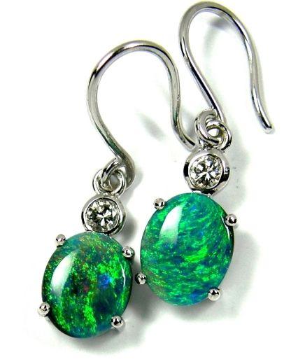 Rare solid Black Opal Pair, earring in K18 WG & Daimond. Just cute ... http://www.opal-direct.com