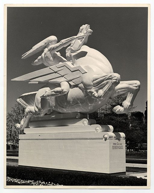 "Joseph E. Renier's Art Deco Plaster Statue ""Speed"" at the 1939 Worlds Fair."