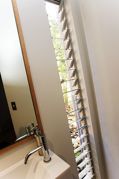 for ensuite and bedroom - long thin windows for ventilation and strategically placed, still allowing privacy. Would you do a half louvres (top half)?