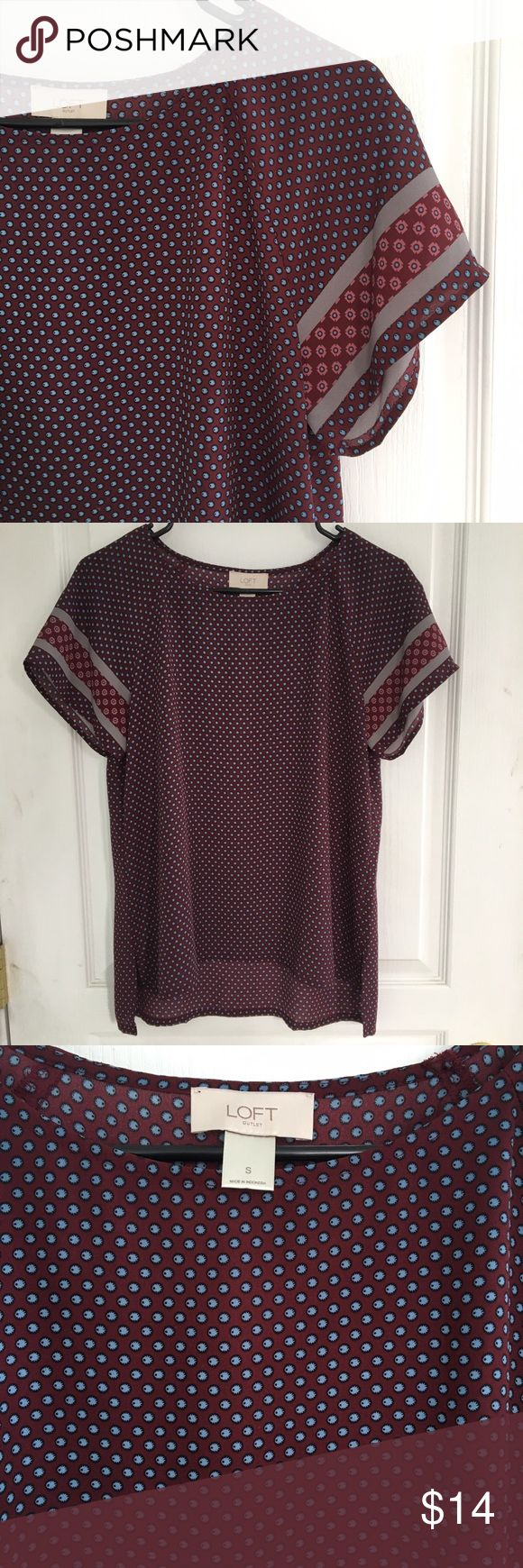 Burgundy and blue polka dot top Beautiful burgundy LOFT short sleeve top with blue polka dots.  Lightweight, silky material. Perfect condition, size small. LOFT Tops