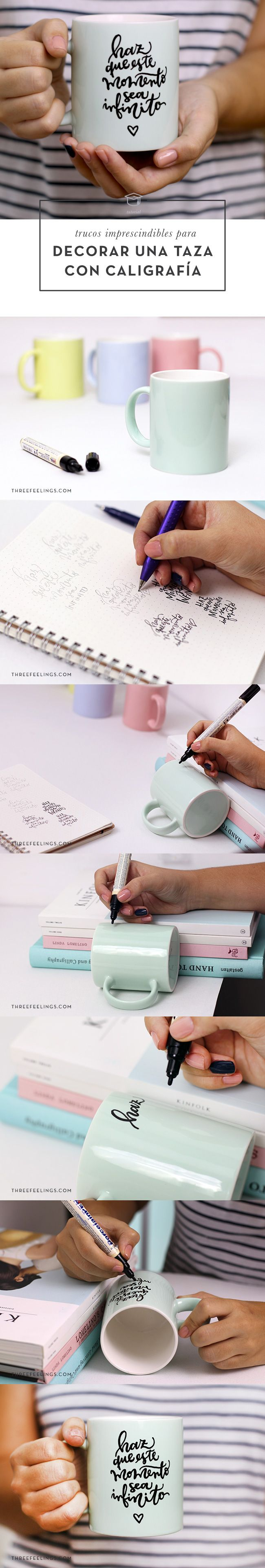 Trucos imprescindibles para decorar una taza con caligrafía paso a paso. #TUTORIAL #DIY How to personalize your own coffee mug with calligraphy